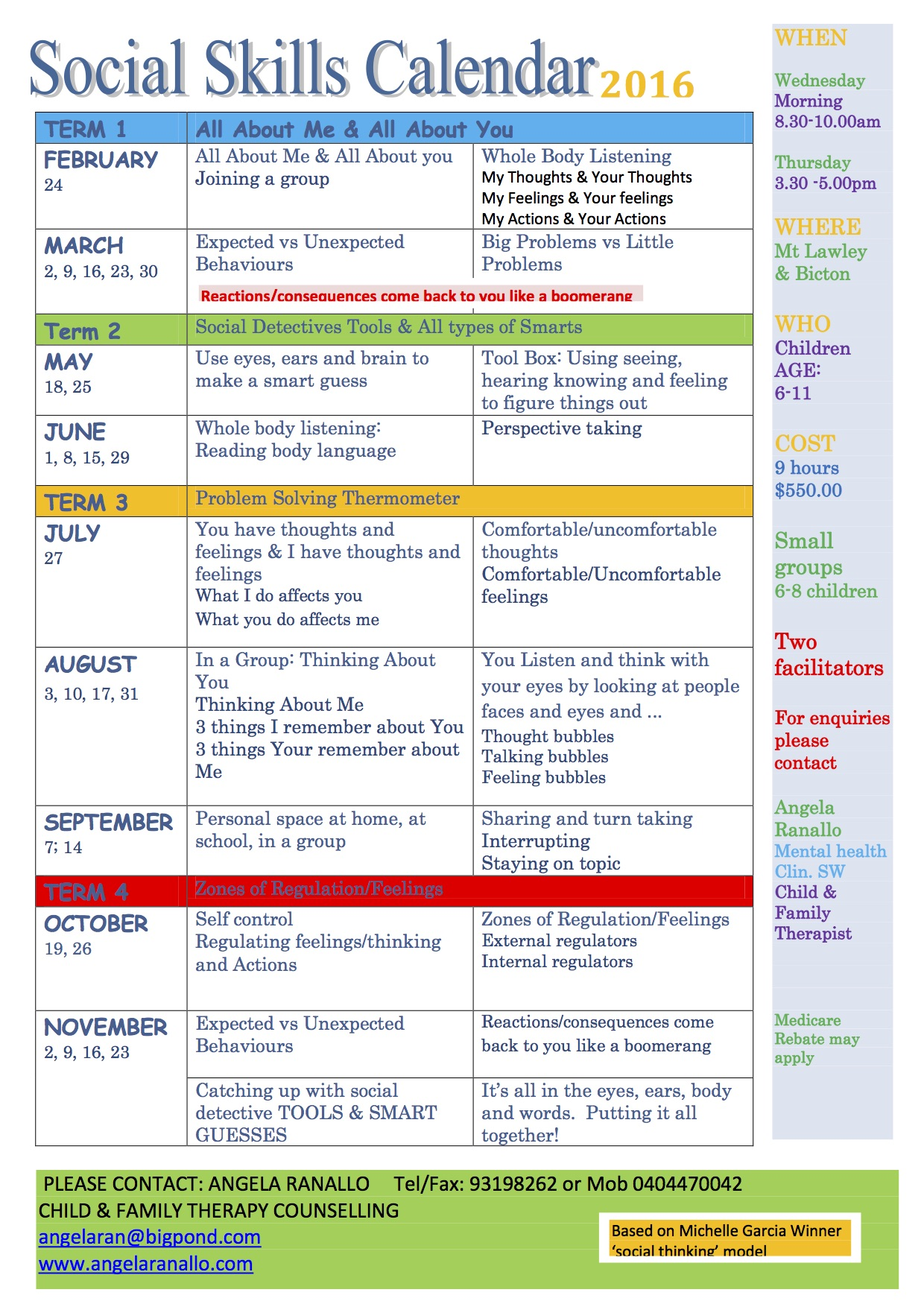 Social Thinking Skills Group Calendar2
